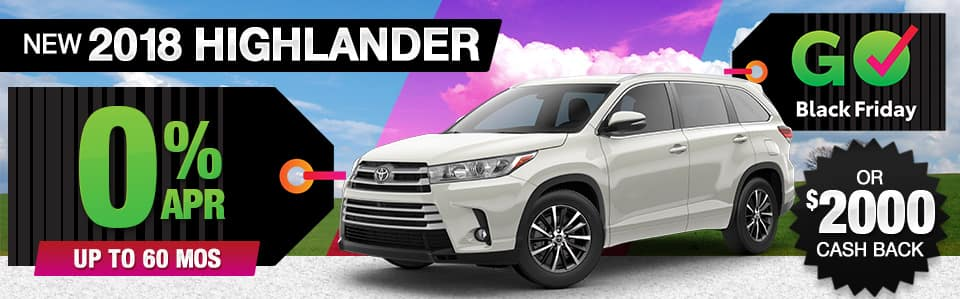 2018 Toyota Highlander Finance or Cash Back Special