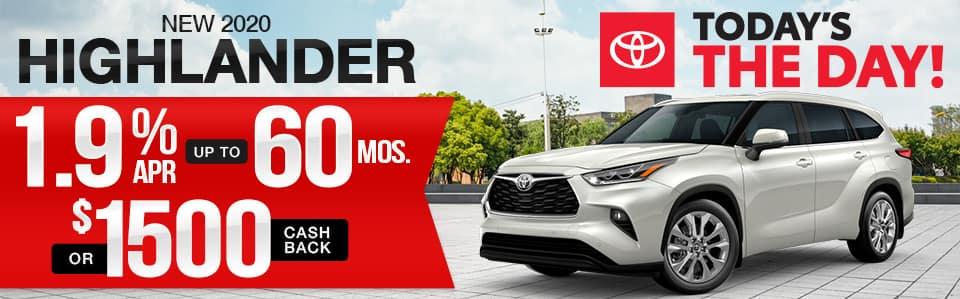 New 2020 Toyota Highlander Finance Special
