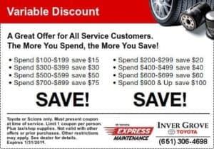 toyota service coupon - savings