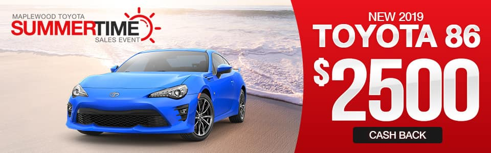 New 2019 Toyota 86 Cash Back Special