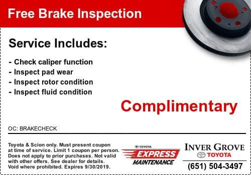 Toyota Brake Coupon Special