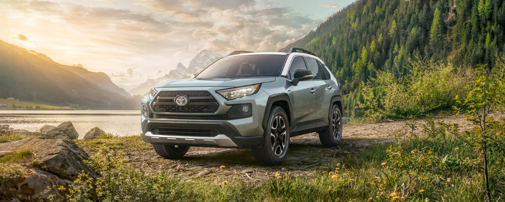 2019 Lunar Rock Toyota RAV4 surrounded by mountains and forrest and sunset