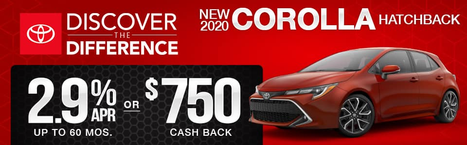 New 2020 Toyota Corolla Hatchback Finance Special