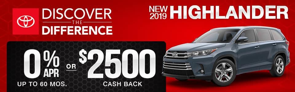 New 2019 Toyota Highlander Finance Special