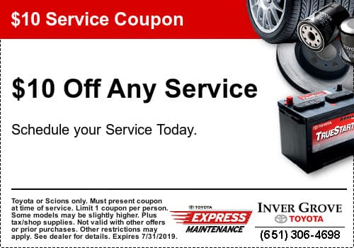 Toyota Oil Change Coupon >> Toyota Service Special Coupon Inver Grove Toyota