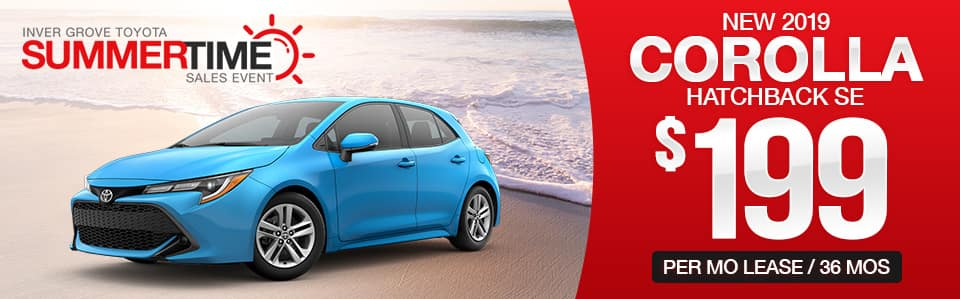 New 2019 Toyota Corolla Hatchback Lease Special