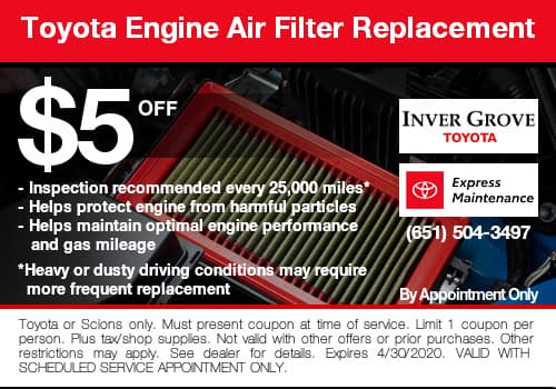 Toyota Engine Air Filter Coupon Special