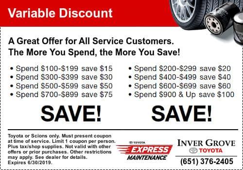 Toyota Service Discount Savings
