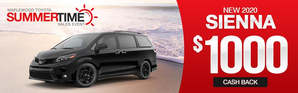 New 2020 Toyota Sienna Cash Back Special