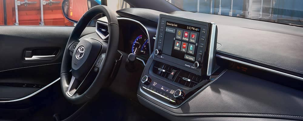 Inside 2019 Toyota Corolla Hatchback showing Toyota Entune suite