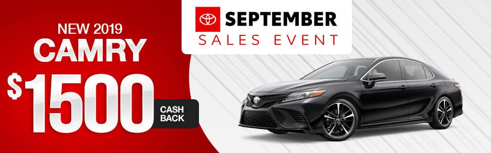 New 2019 Toyota Camry Cash Back Special