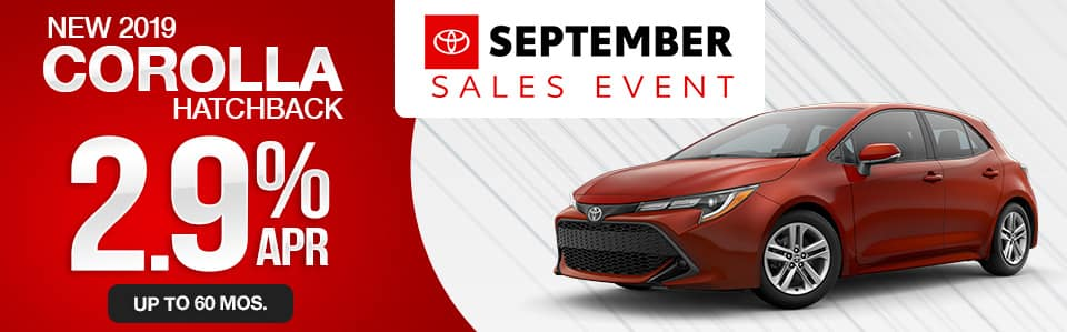New 2019 Toyota Corolla Hatchback Finance Special