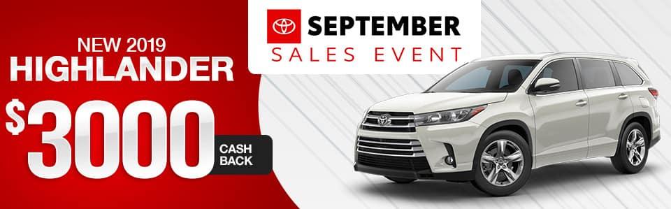 New 2019 Toyota Highlander Cash Back Special