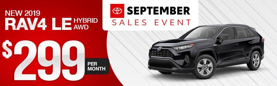 New 2019 Toyota RAV4 Hybrid Lease Special