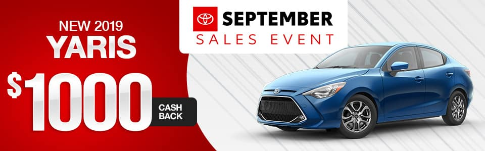 New 2019 Toyota Yaris Cash Back Special
