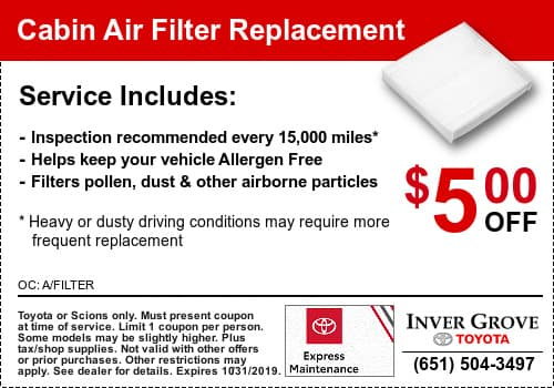 Toyota Cabin Air Filter Coupon Special