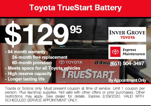 Toyota TrueStart Battery Coupon Special
