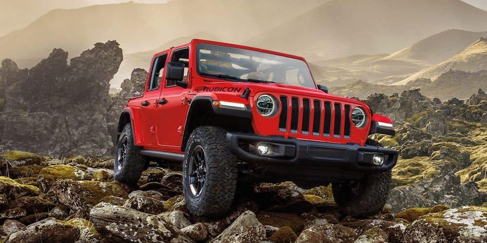 Red 2020 Jeep Wrangler Rubicon on Rocks