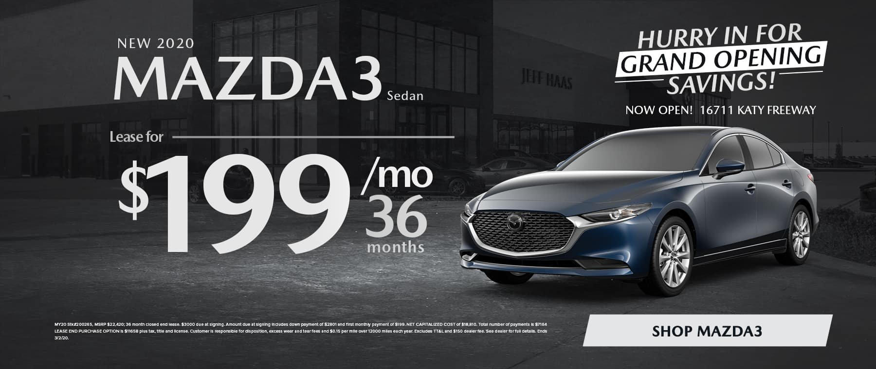 New 2020 MAZDA3 Sedan Lease for $199/mo for 36 mo