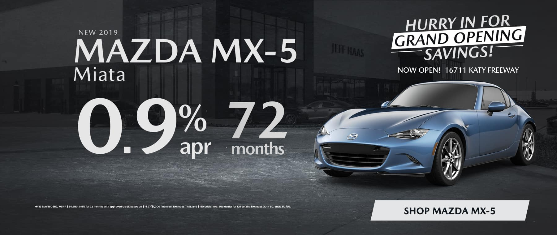 New 2019 MAZDA MX-5 Miata 0.9% APR for 72 Months