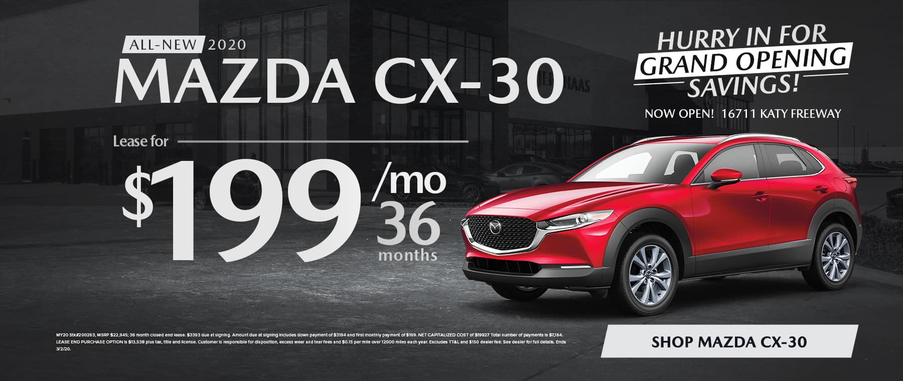All-New 2020 MAZDA CX-30 Lease for $199/mo for 36 mo