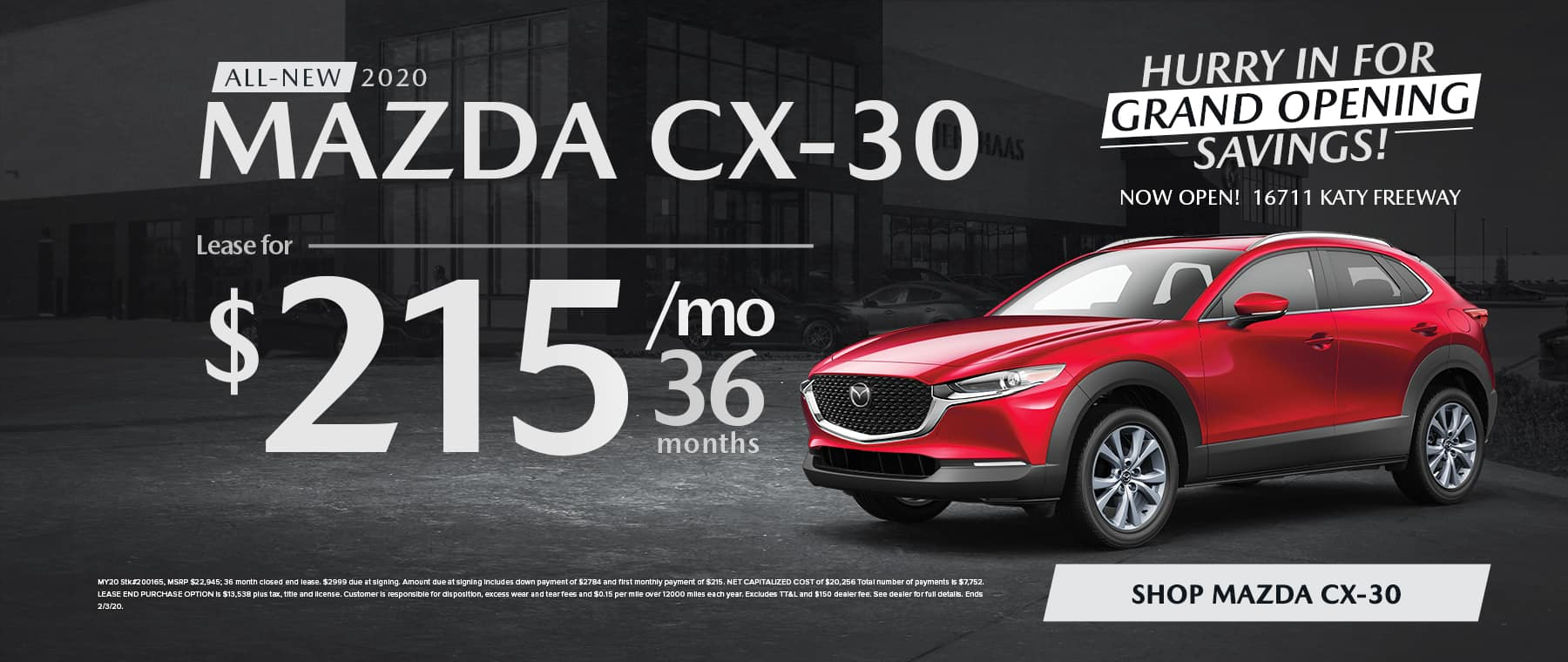 All-New 2020 MAZDA CX-30 Lease for $215/mo for 36 mo
