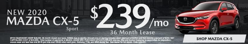 New 2020 MAZDA CX-5 Sport Lease for $239/mo for 36 mo