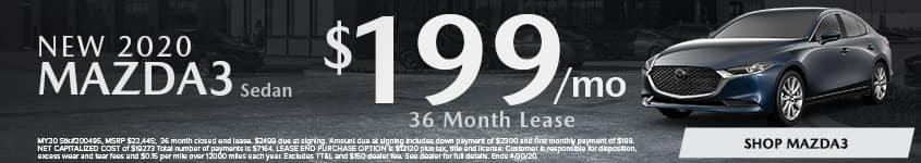 New 2020 MAZDA3 Sedan Lease for $199/mo for 36 mo