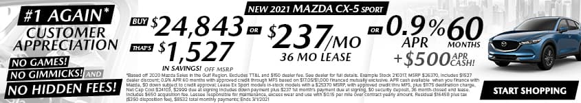 New 2020 Mazda CX-5 Sport Buy $24,843 - That's $1,527 In Savings! Off MSRP OR $237/Month 36 Month Lease OR 0.9% APR 60 MONTHS + $500 APR CASH!