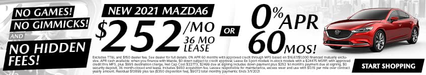 New 2021 Mazda6 Sport $252/Month 36 Month Lease OR 0% APR 60 MONTHS!