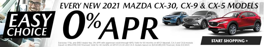 Every New 2021 Mazda CX-30, CX-9 & CX-5 MODELS 0% APR