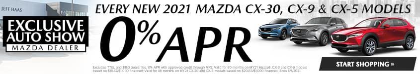 Every New 2021 Mazda CX-30, CX-9 & CX-5 MODELS 0% APR