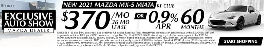 New 2021 Mazda MX-5 Miata RF Club $370/Month 36 Month Lease OR 0.9% APR 60 MONTHS