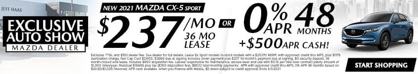w 2021 Mazda CX-5 Sport $237/Month 36 Month Lease OR 0% APR 48 MONTHS + $500 APR CASH