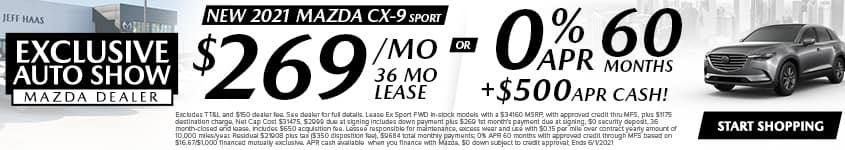 New 2021 Mazda CX-9 Sport $269/Month 36 Month Lease OR 0% APR 60 MONTHS + $500 APR CASH