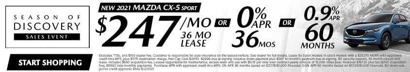 New 2021 Mazda CX-5 Sport $247/Month 36 Month Lease OR 0% APR 36 MONTHS OR 0.9% APR 60 Months