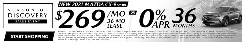 New 2021 Mazda CX-9 Sport $269/Month 36 Month Lease OR 0% APR 36 MONTHS