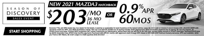 New 2021 Mazda3 Hatchback $203/Month 36 Month Lease OR 0.9% APR 60 MONTHS