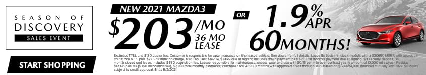 New 2021 Mazda3 $203/Month 36 Month Lease OR 1.9% APR 60 MONTHS