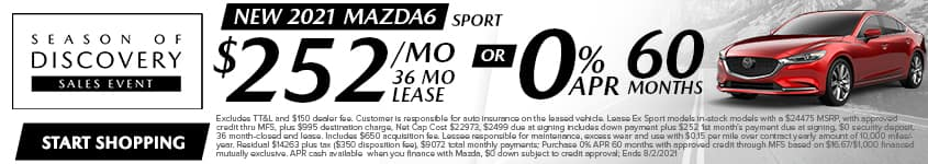 New 2021 Mazda6 Sport $252/Month 36 Month Lease OR 0% APR 60 MONTHS