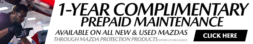 1-Year Complimentary PrePaid Maintenance Available on All New & Used Mazdas