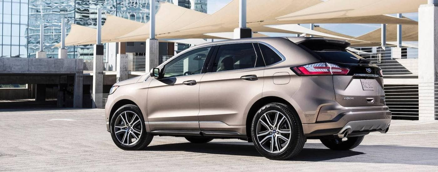 Beige 2019 Ford Edge Parked