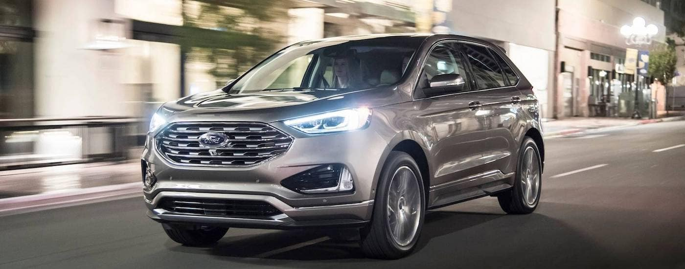 Grey 2019 Ford Edge Driving