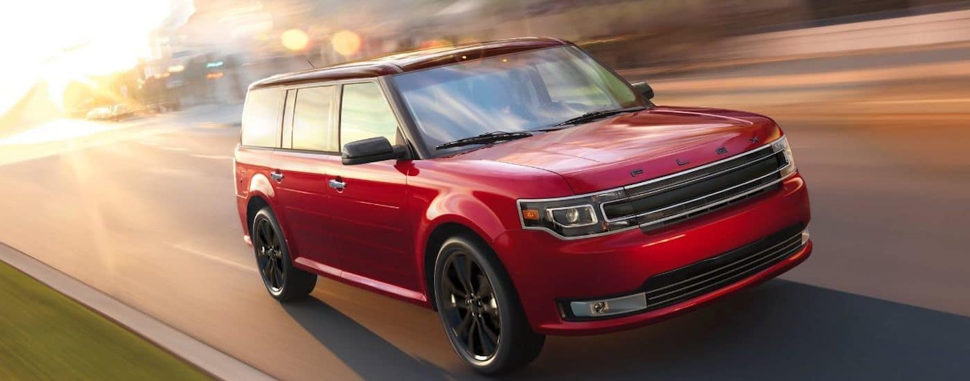 Red 2019 Ford Flex Performance Driving