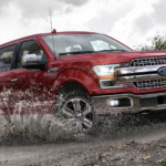 Red 2019 Ford F150 driving though mud