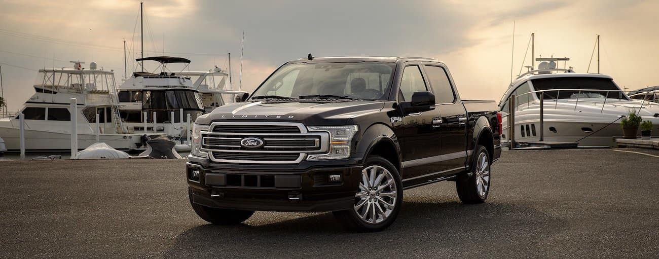 A dark brown 2019 Ford F-150 parked a boat dock
