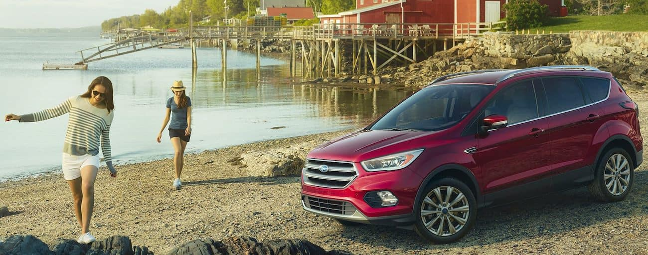 A red 2019 Ford Escape sits next to a quite harbor