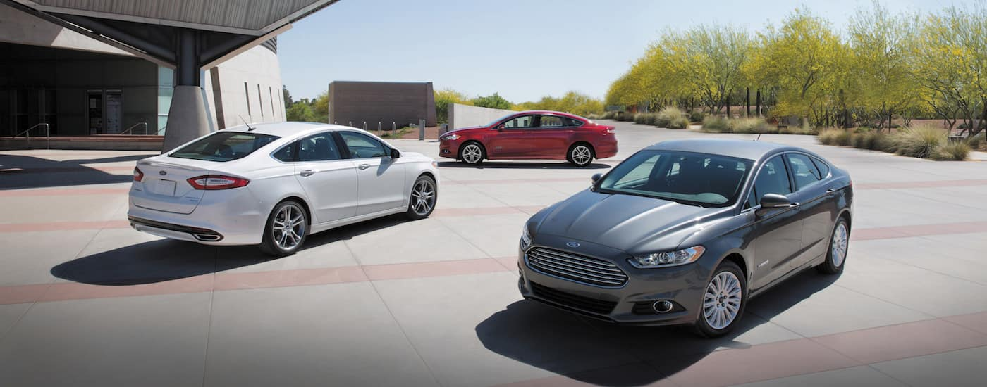 There used Ford Fusions in gray, white, and red