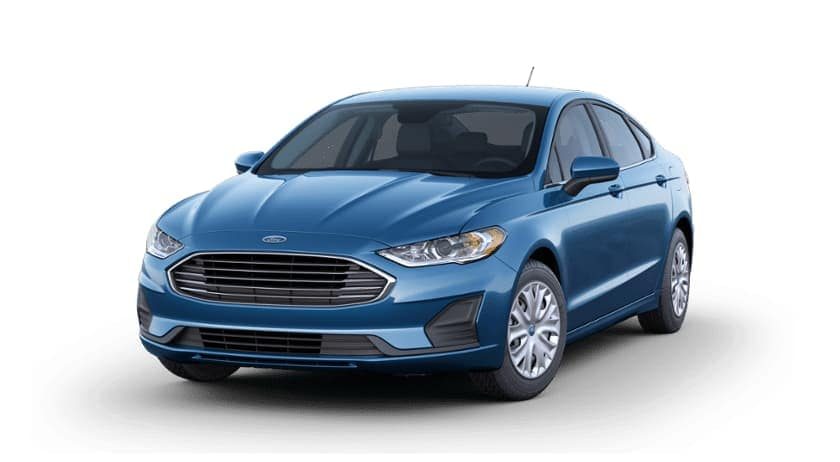 Blue 2019 Ford Fusion on white