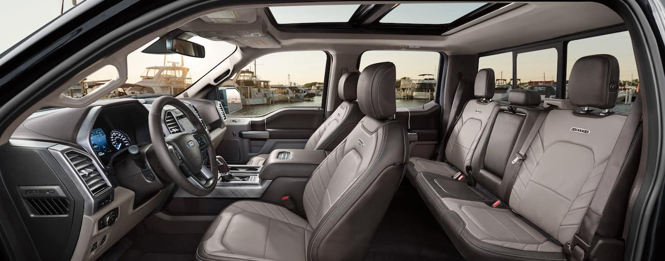A gray leather interior of the 2019 Ford F-150